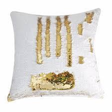 Capa de Almofada Paetê Dourado e Branco