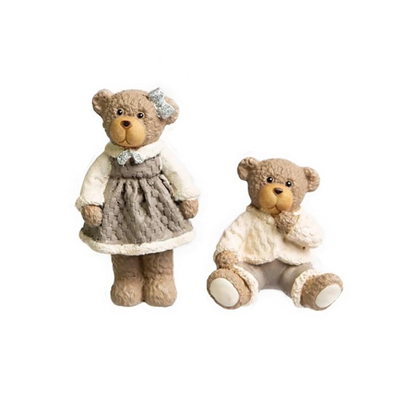 Casal de Ursos Cute Marrom 8cm | Formosinha