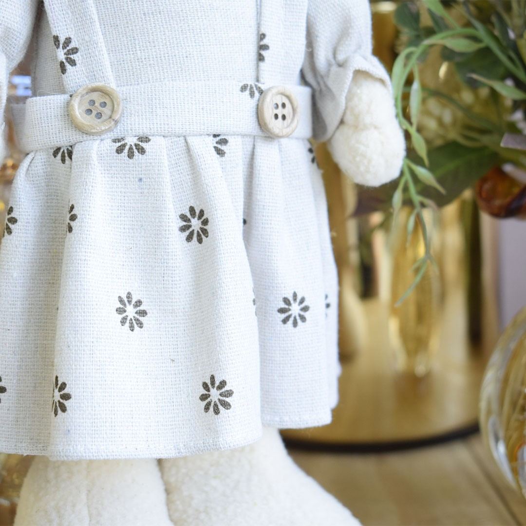 Coelho de Páscoa de Vestido Floral 37cm | Linha Páscoa Formosinha