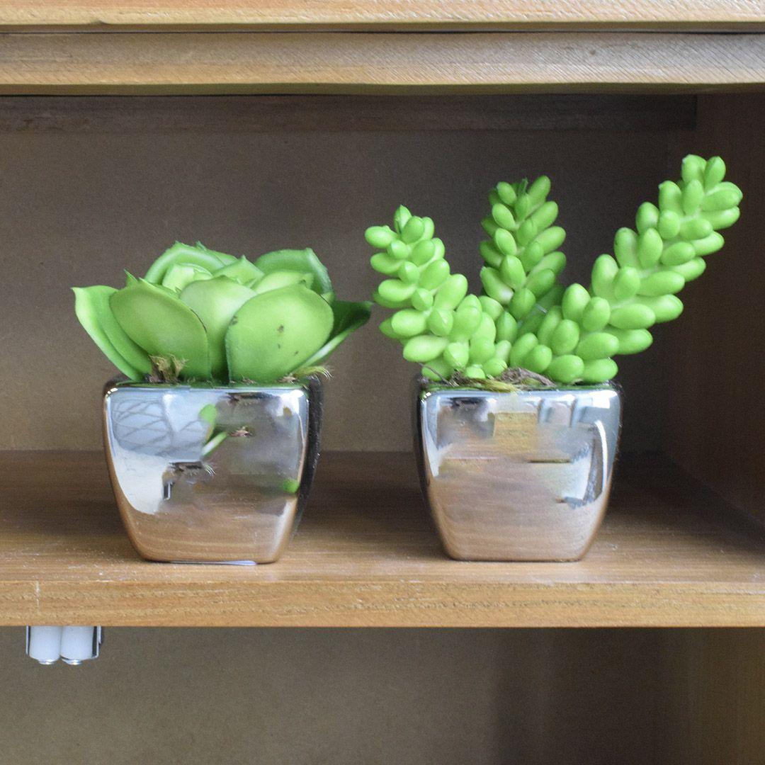 Arranjo Artificial com Duas Mini Suculentas no Vaso Prateado|Linha Permanente Formosinha