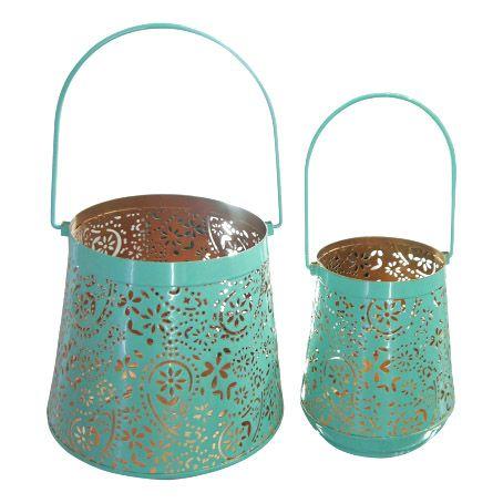 Conjunto de Lanterna Marroquina Azul Tiffany