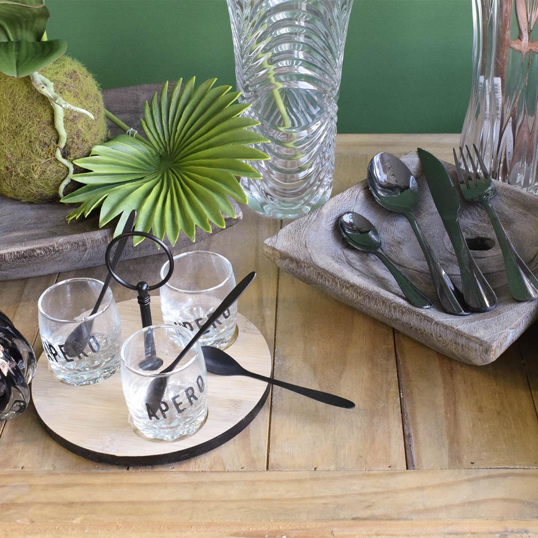 Conjunto de Molheira para Mesa Posta de Vidro e Bambu | Linha Mesa Posta