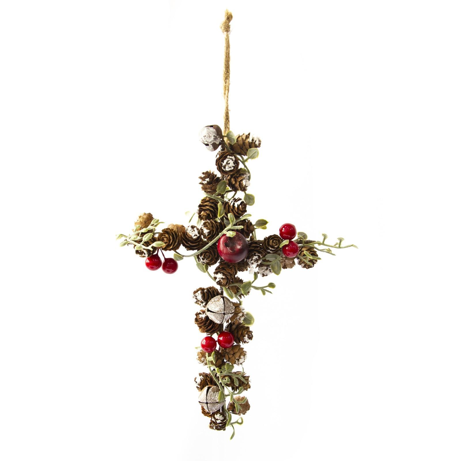 Cruz com Frutas e Pinhas Para Pendurar Luxo | Linha Natal Encantado