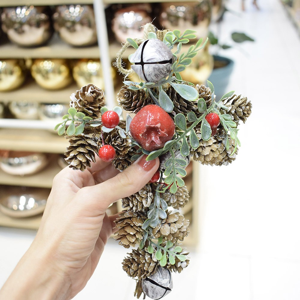 Cruz com Frutas e Pinhas Para Pendurar Luxo | Formosinha