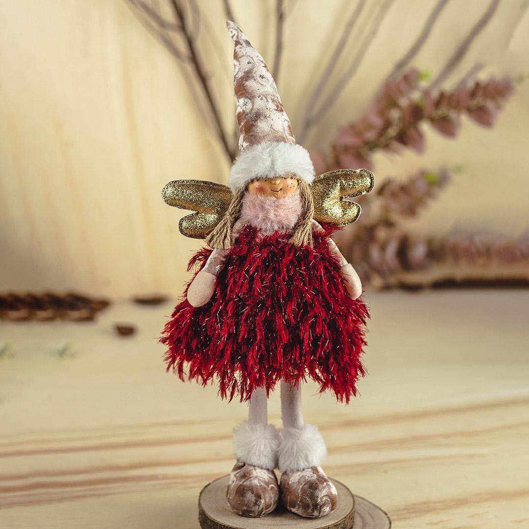 Enfeite de Natal Anjo Jolie Rosa e Marsala 46Cm |  Formosinha