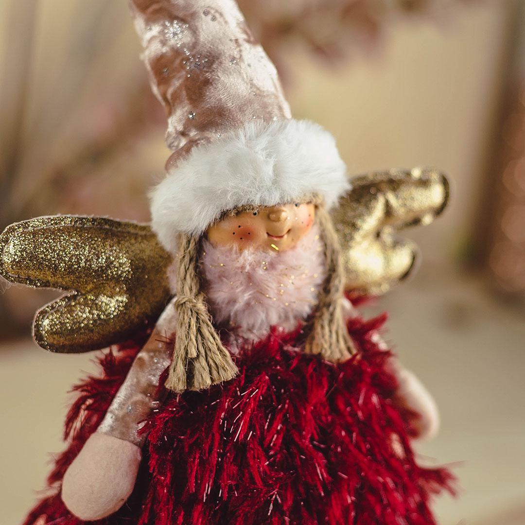 Enfeite de Natal Anjo Jolie Rosa e Marsala 46Cm    Formosinha