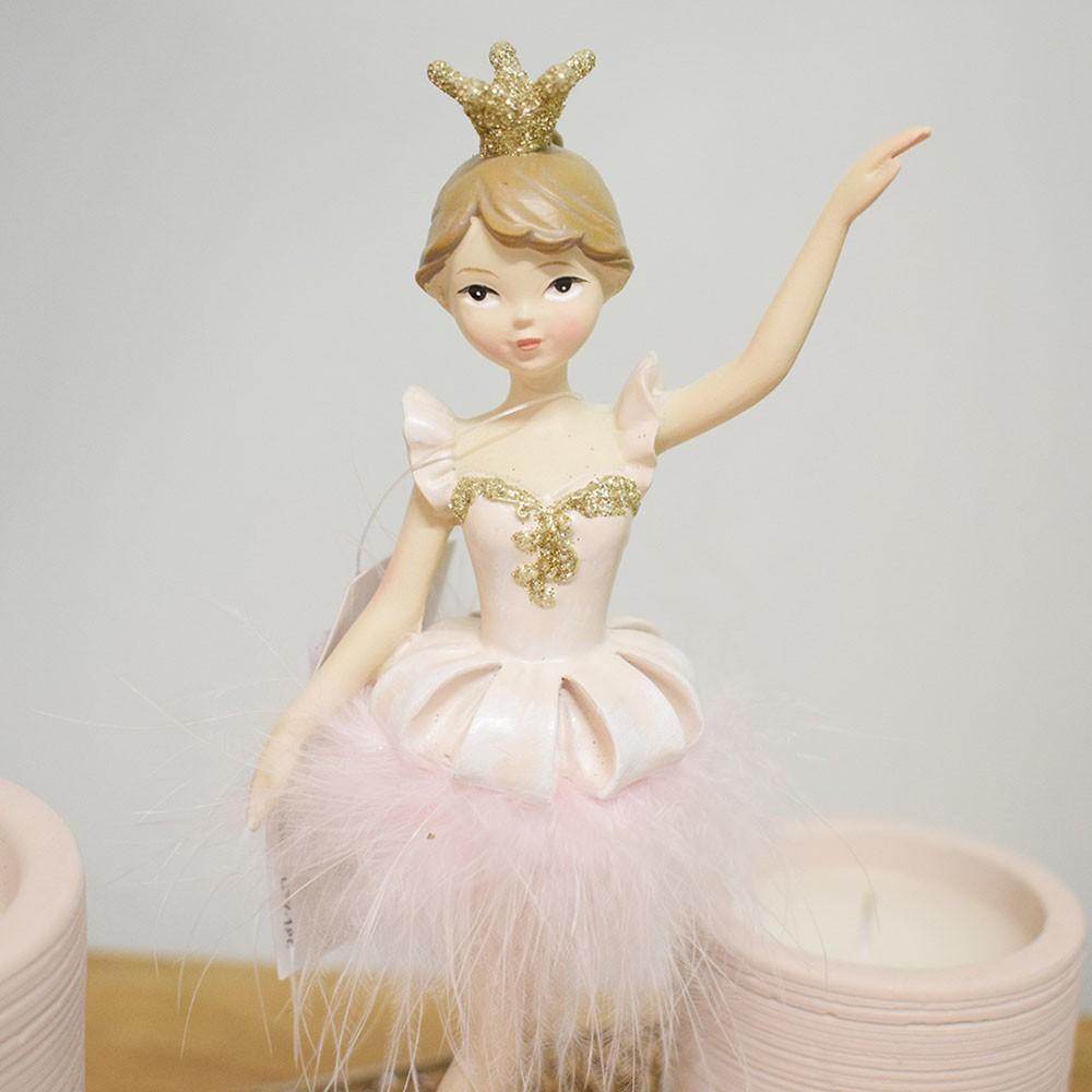 Enfeite de Natal Bailarina de Resina Rosa | Linha Natal Encantado Formosinha