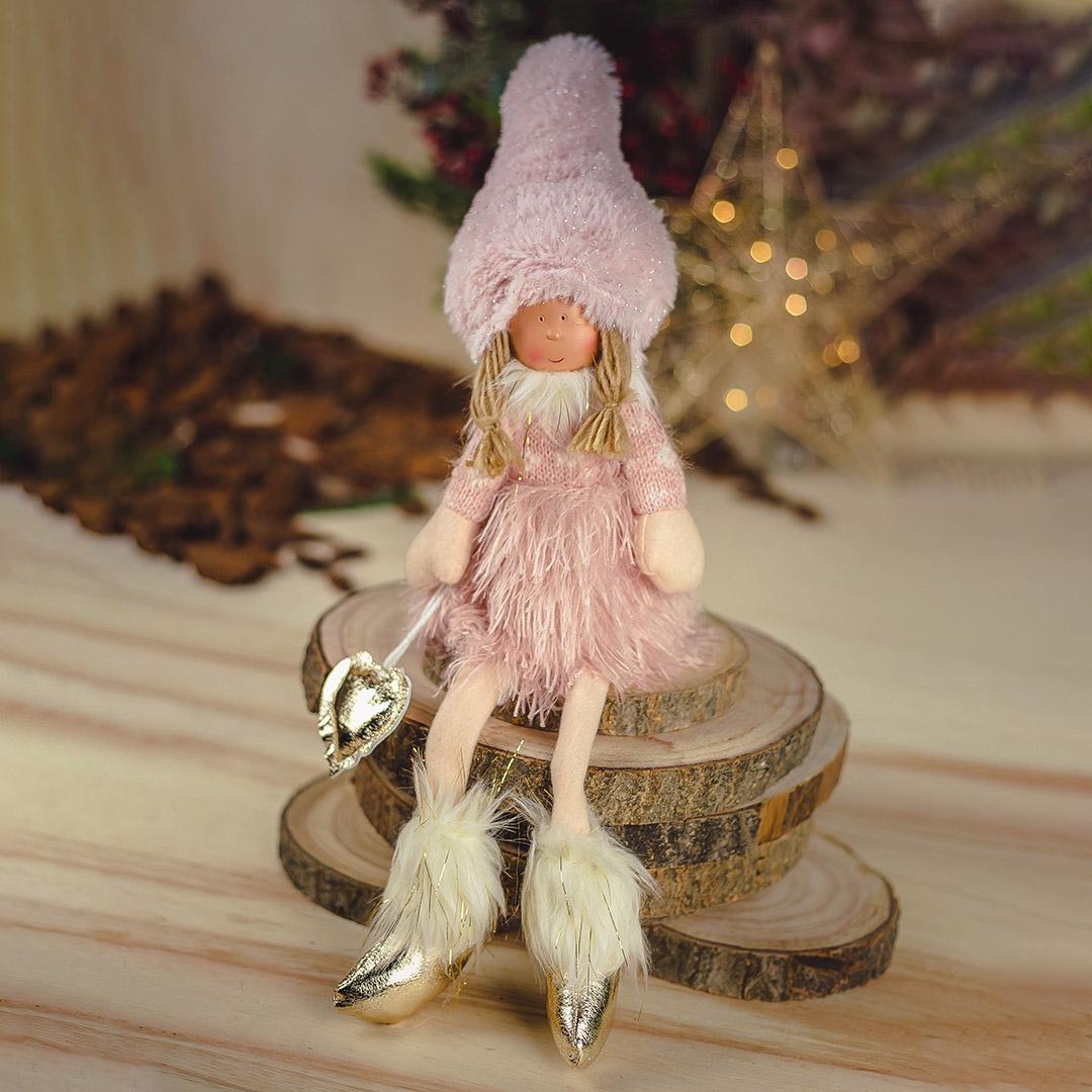 Enfeite de Natal Boneca Jolie Sentada Rosa 50Cm |  Formosinha