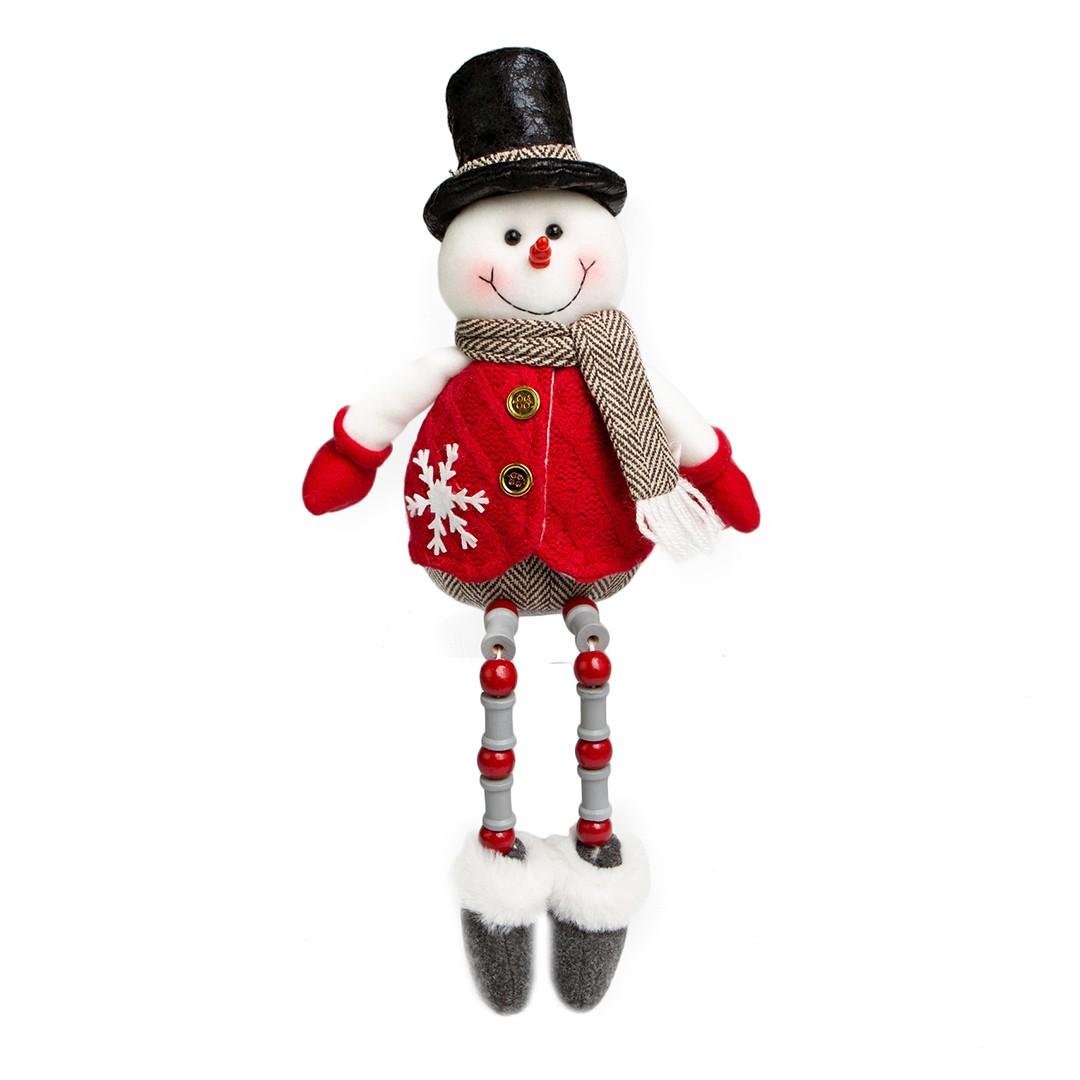 Enfeite de Natal Boneco de Neve com Pernas de Miçangas Vermelho e Cinza | Linha Natal Encantado Formosinha
