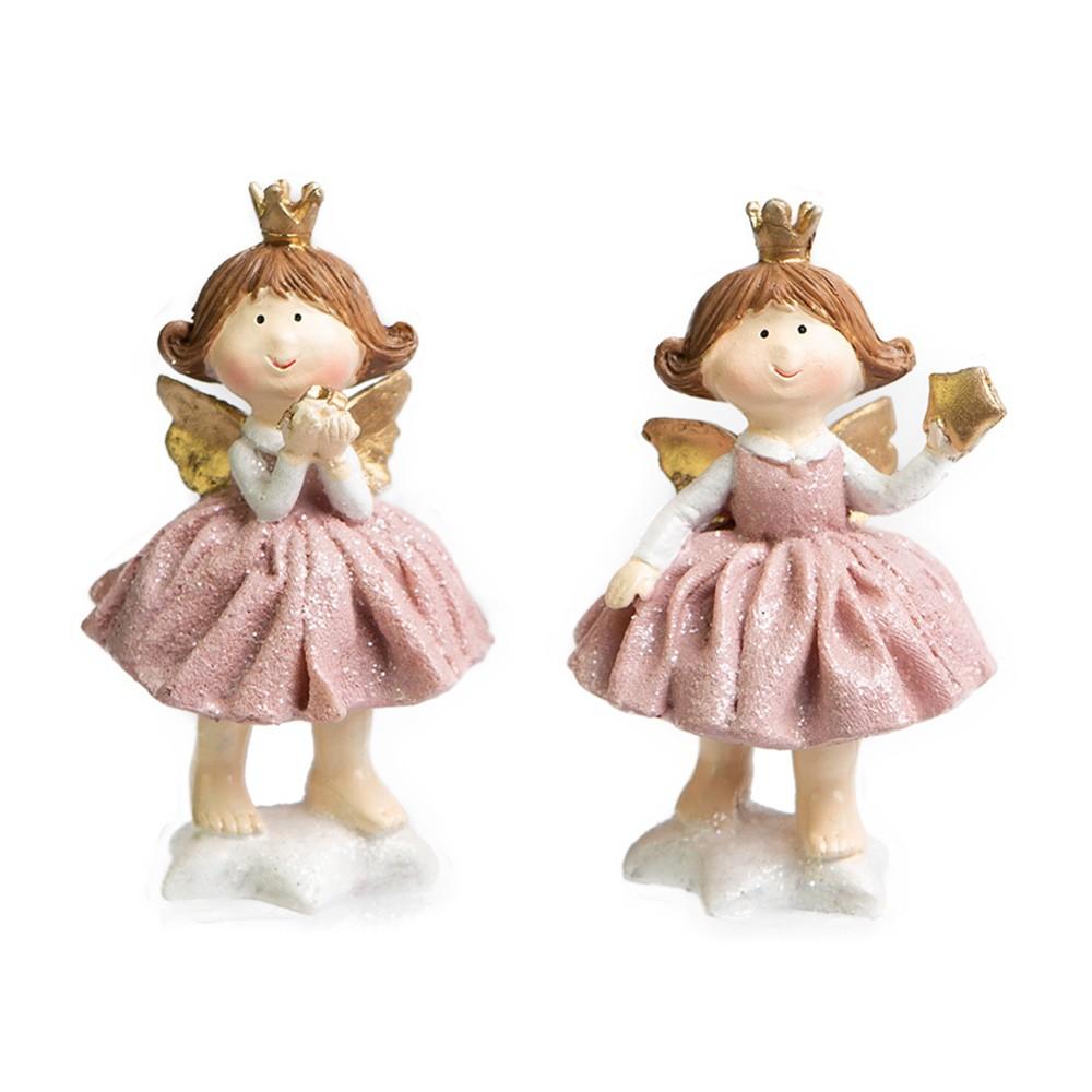 Enfeite de Natal com 2 Anjinhas Princesas Polly Rosa | Linha Natal Encantado