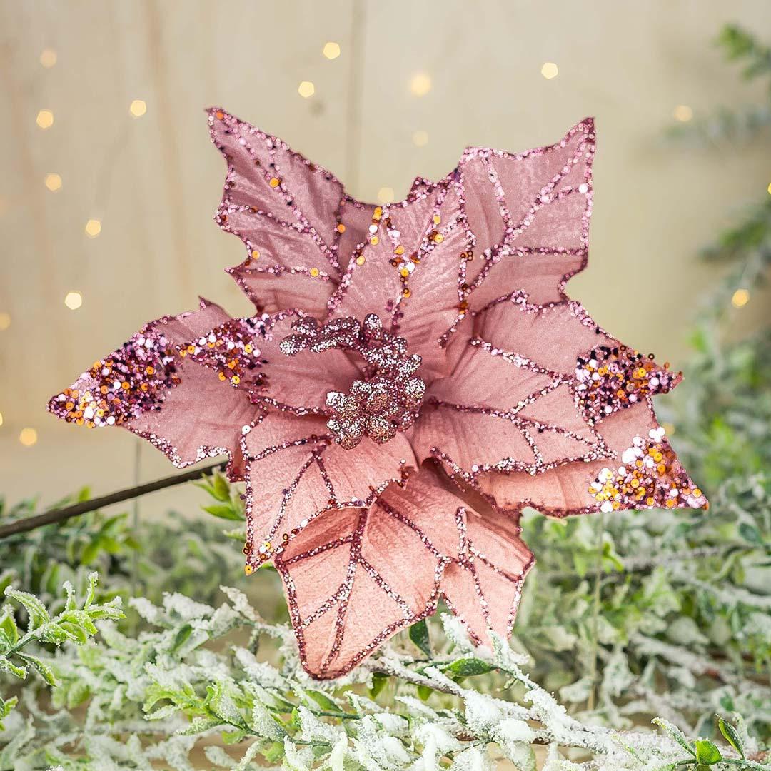 Enfeite de Natal Flor Poinsetia Rose 31cm | Natal Formosinha