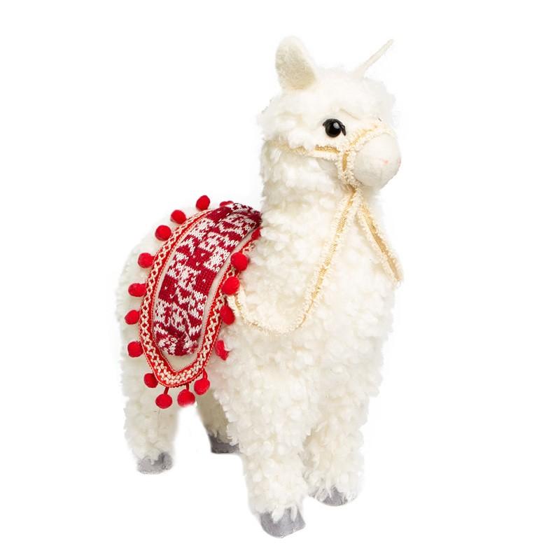 Enfeite de Natal Lhama Branca com Vermelho  | Linha Natal Encantado Formosinha