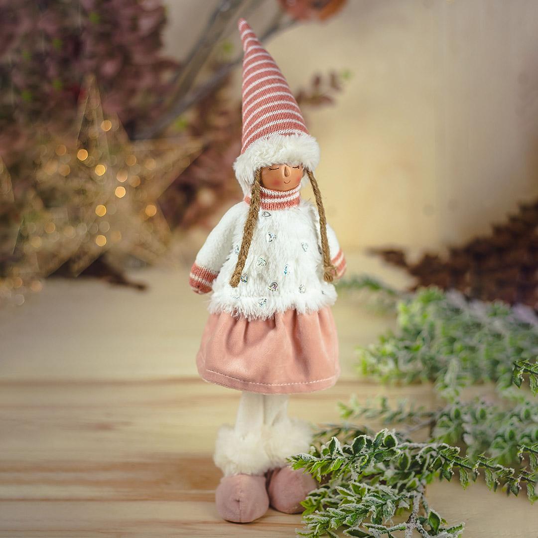Enfeite de Natal Menina com Casaco de Coração 48cm | Natal Formosinha
