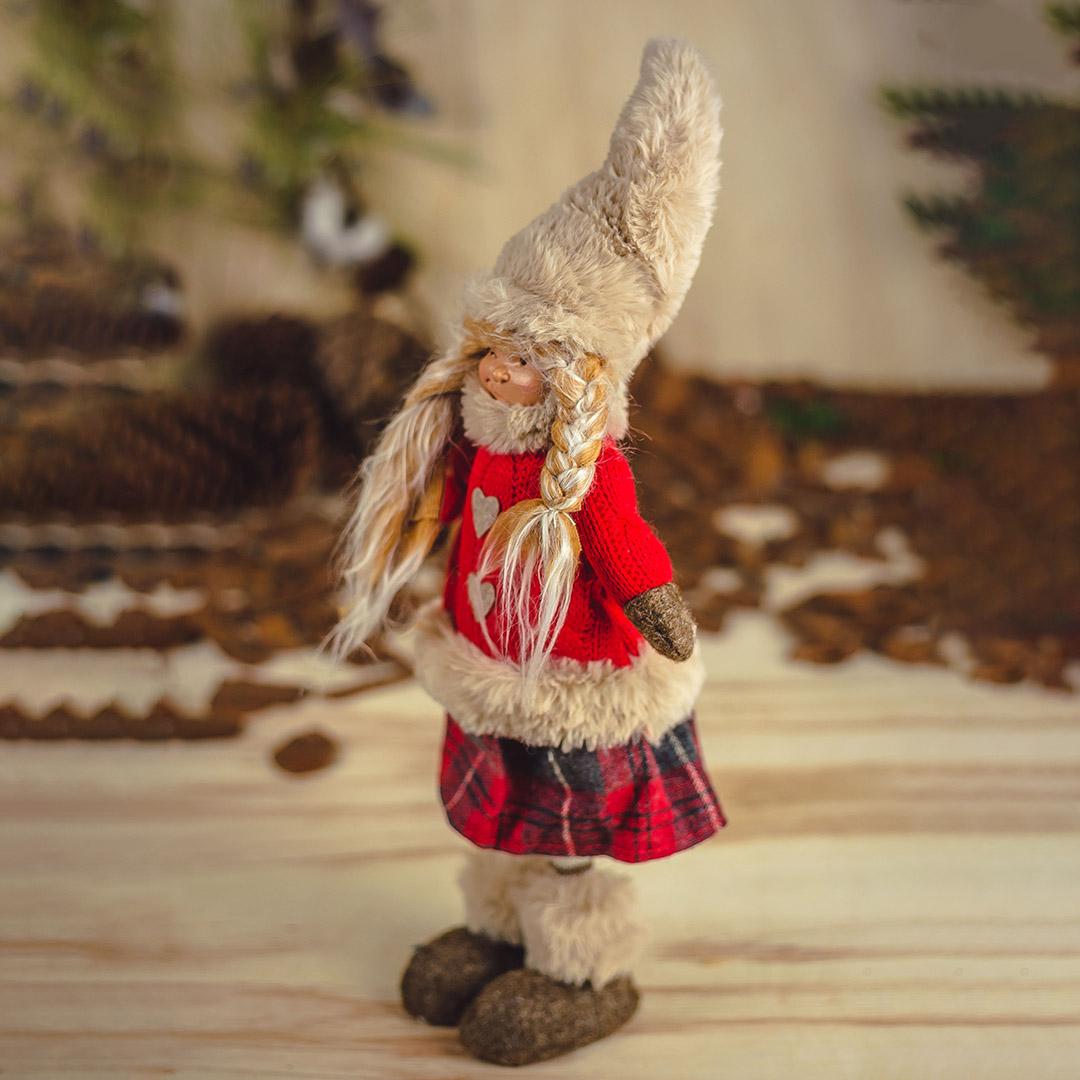 Enfeite de Natal Menina Xadrez com Tranças 48cm | Natal Formosinha