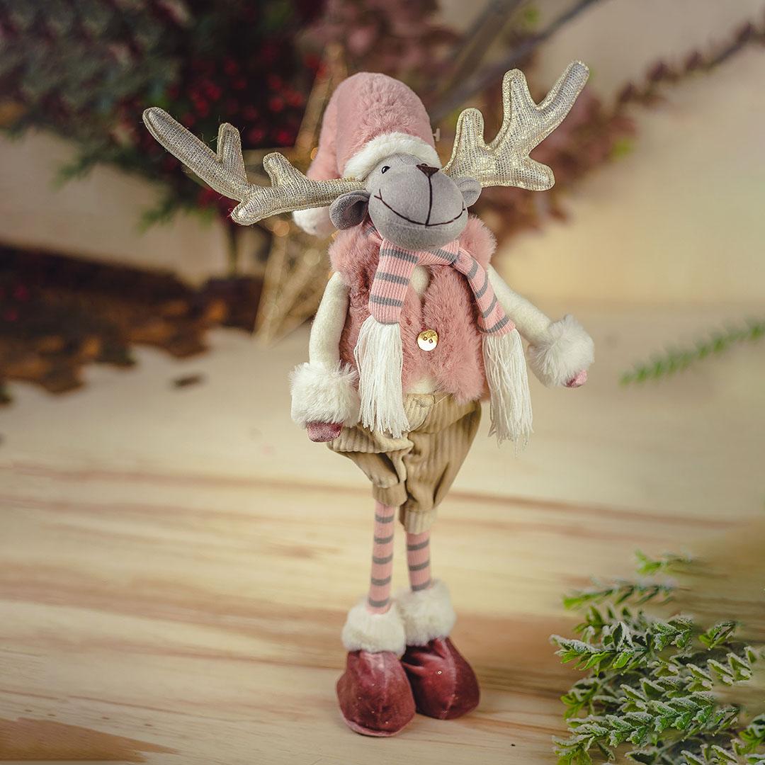 Enfeite de Natal Menino Rena de Colete 53cm   Natal Formosinha