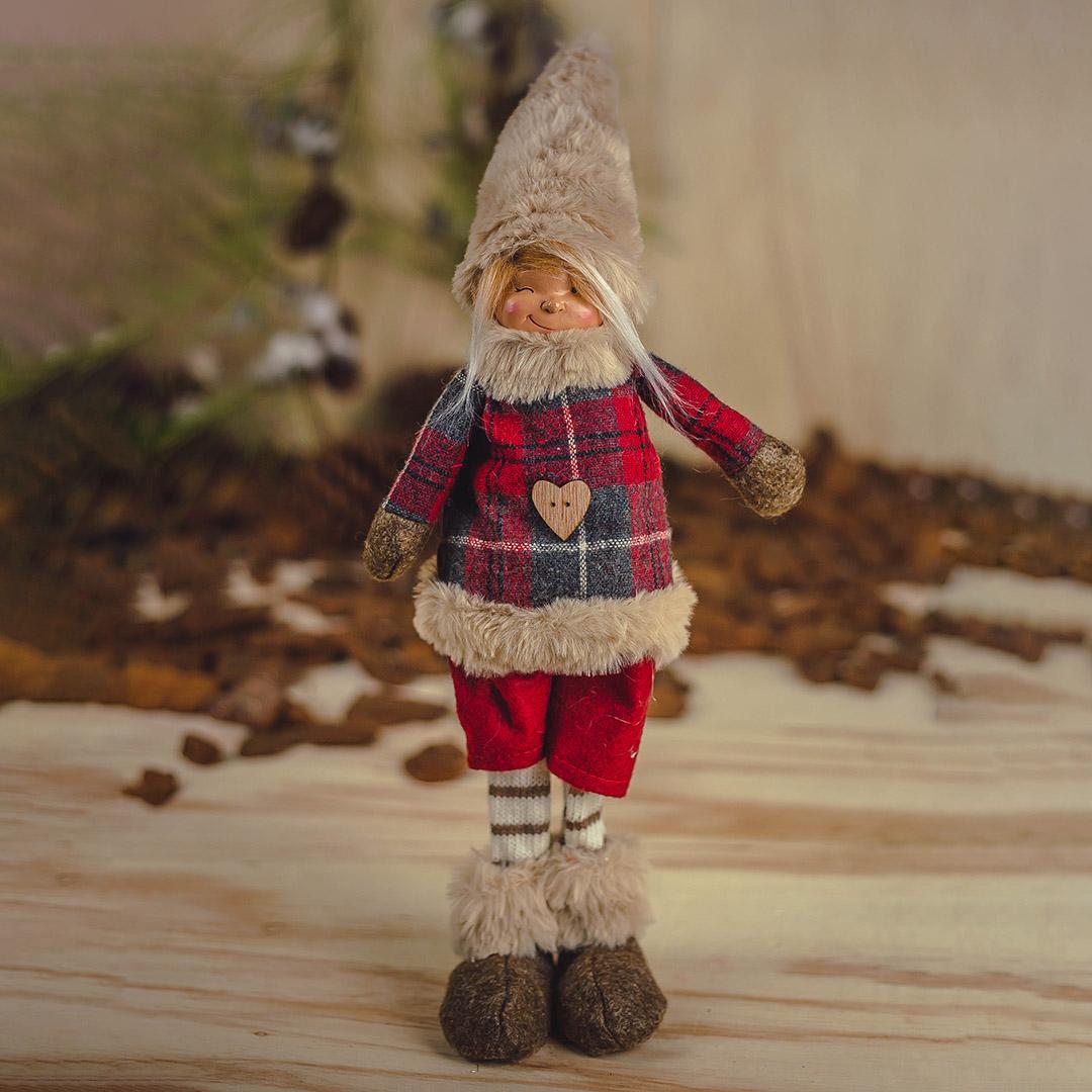 Enfeite de Natal Menino Xadrez 48cm | Natal Formosinha