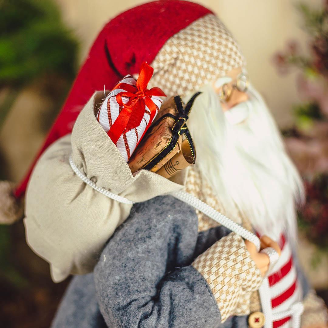 Enfeite de Natal Papai Noel Blusa Listrada 45cm  Natal Formosinha