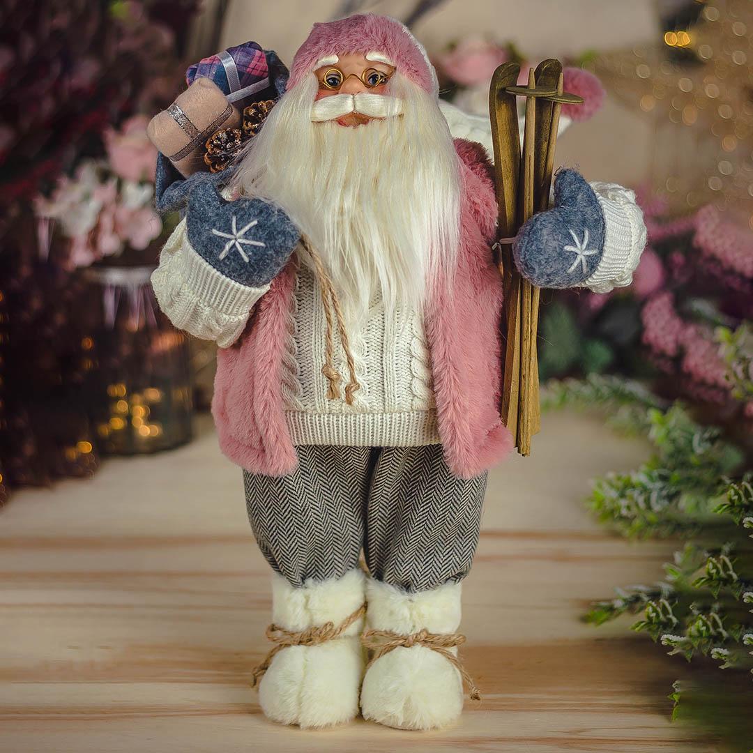Enfeite de Natal Papai Noel Casaco Rosa 45cm  Natal Formosinha