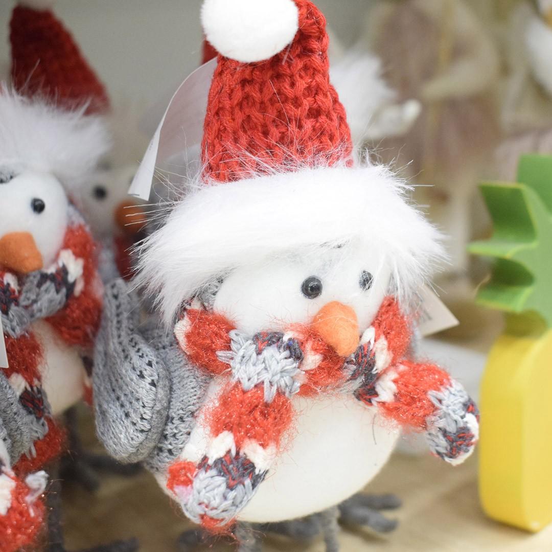 Enfeite de Natal Passarinho Cloud Vermelho e Cinza | Linha Natal Encantado