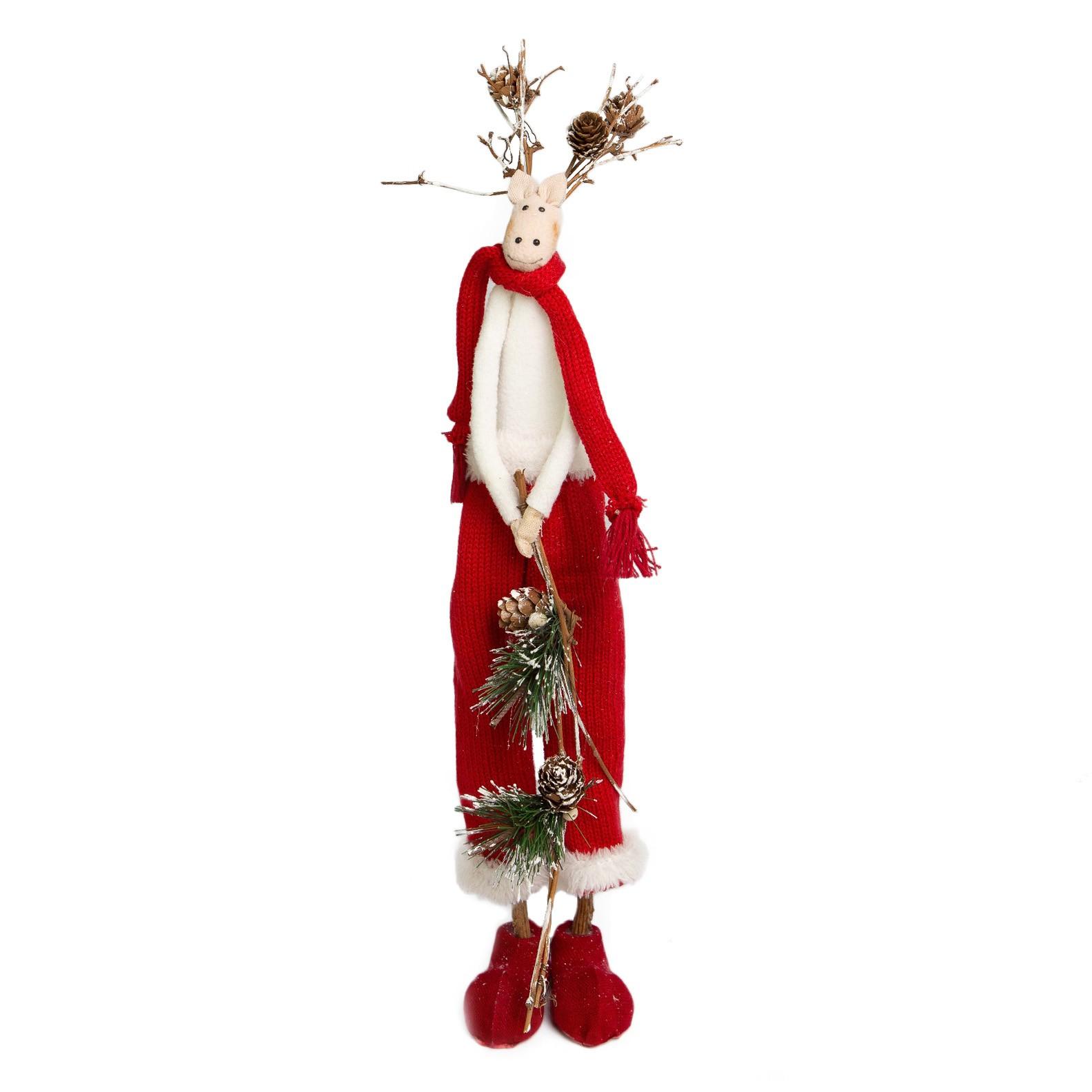 Enfeite de Natal Rena Soffy Menino Vermelho | Linha Natal Encantado Formosinha Co. Rena Menino Jolie Br/Rs 26cm