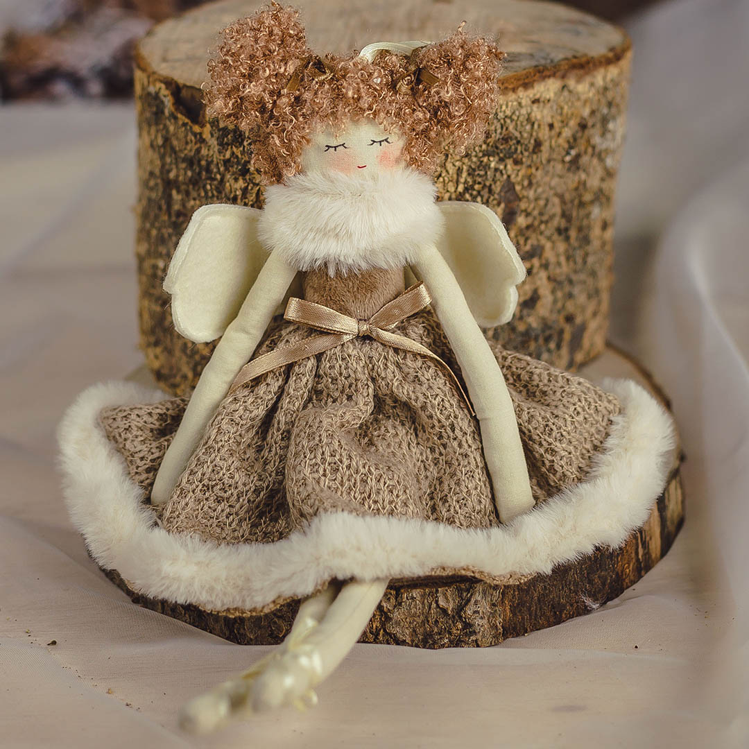 Enfeite Natal Anjo Cacheada Dourada 29cm | Formosinha