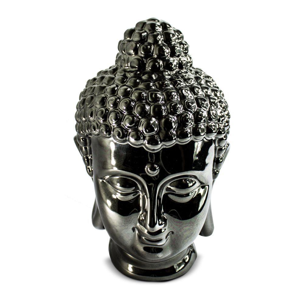 Estátua de Buda Preto Metálico