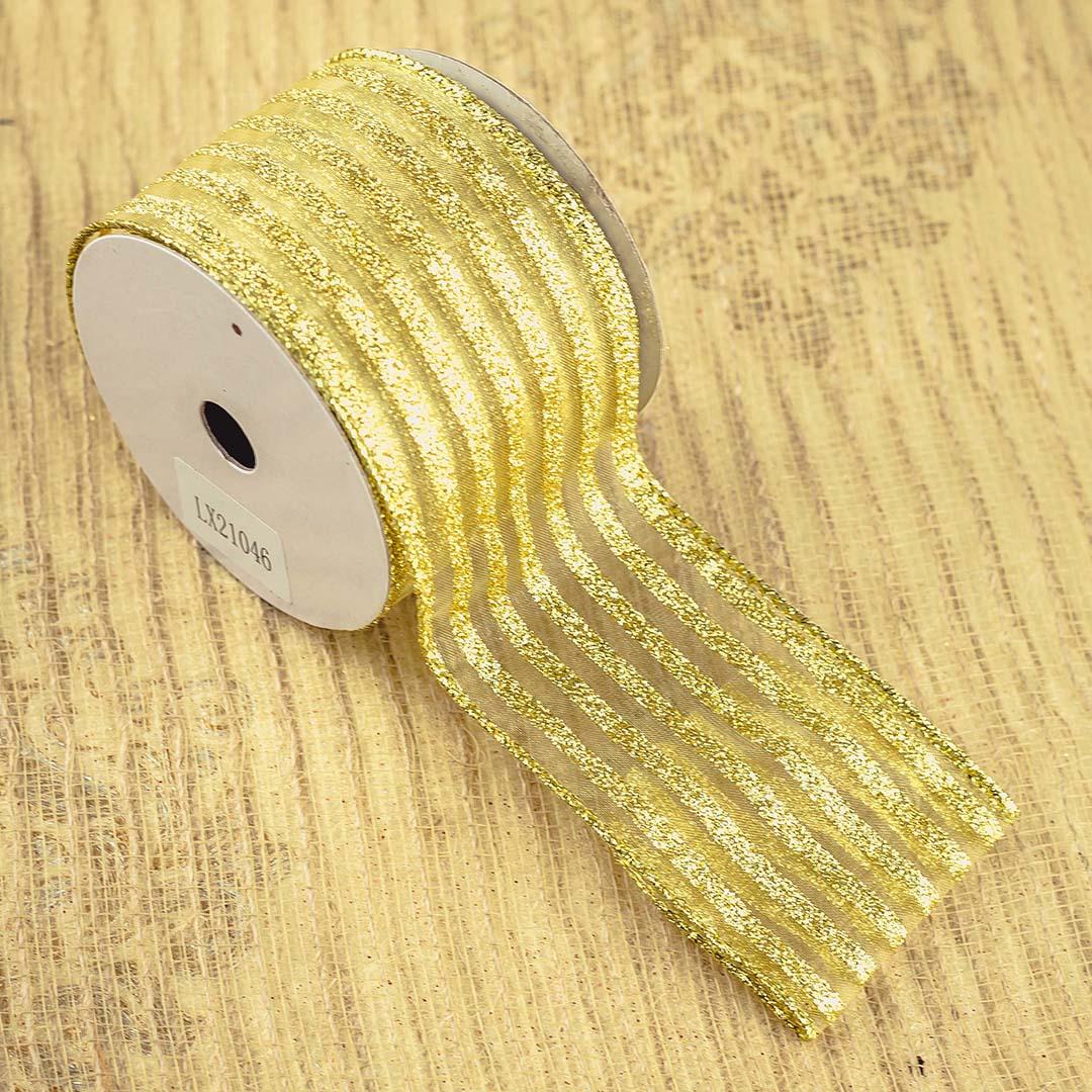 Fita Decorada Listrada Dourada Aramada 6,3cm x 9,14 m | Natal Formosinha