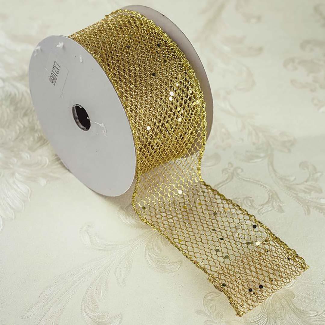 Fita Decorada Telada Dourada 6,3cm x 9,14 m | Natal Formosinha