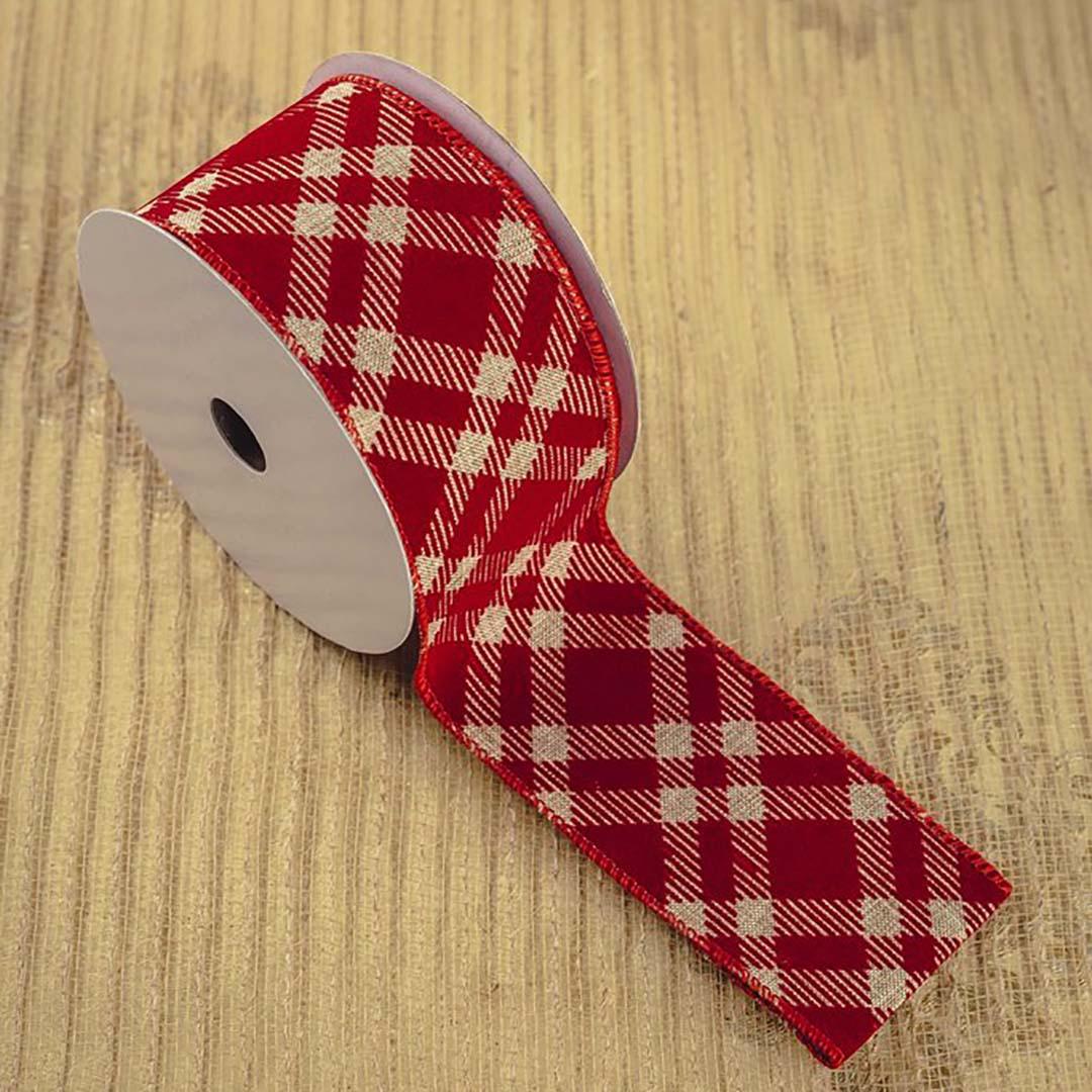 Fita Decorada Vermelha Xadrez 6,3cm x 9,14 m | Natal Formosinha