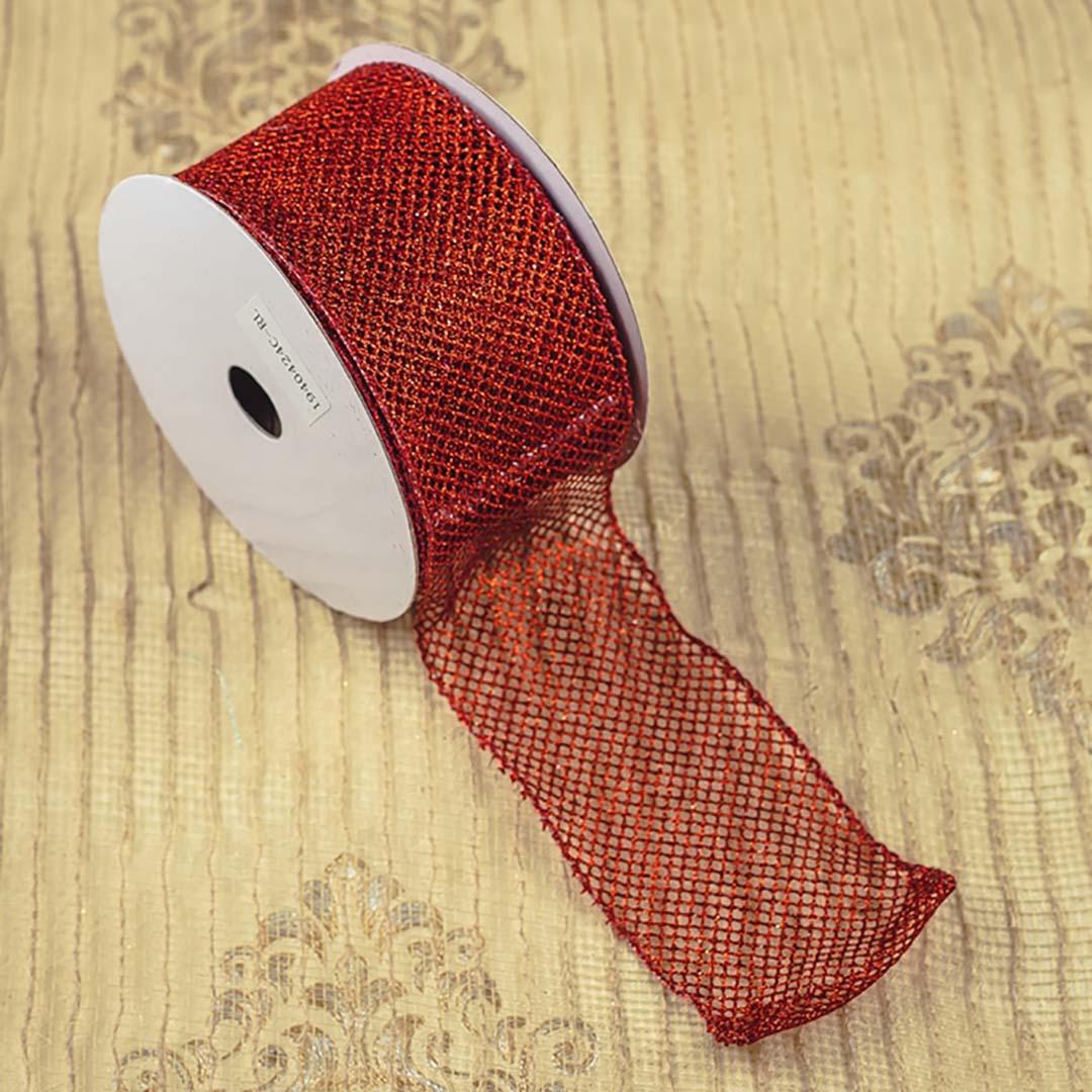 Fita Telada Vermelha com Brilho 6,3cm x 9,14 m | Natal Formosinha