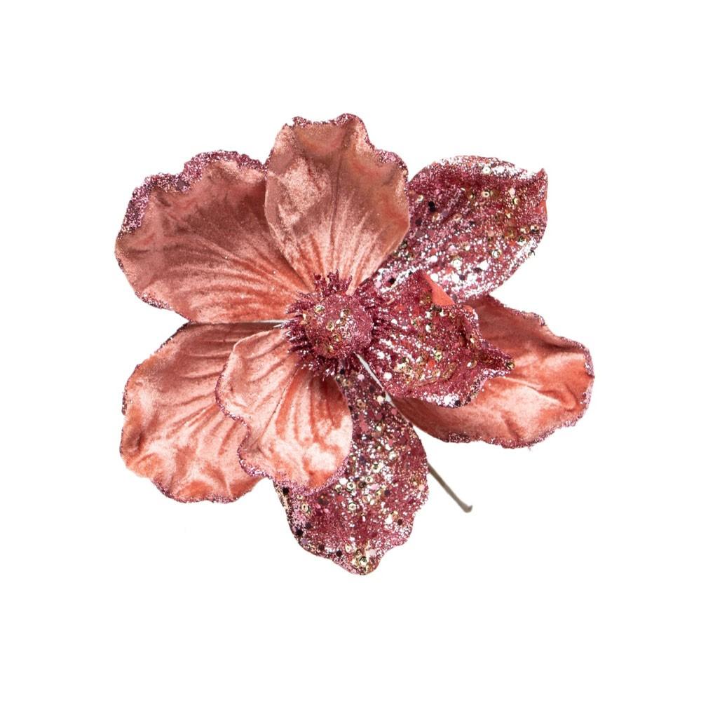 Flor Artificial Natalina Magnolia Rose Gold | Linha Natal Encantado