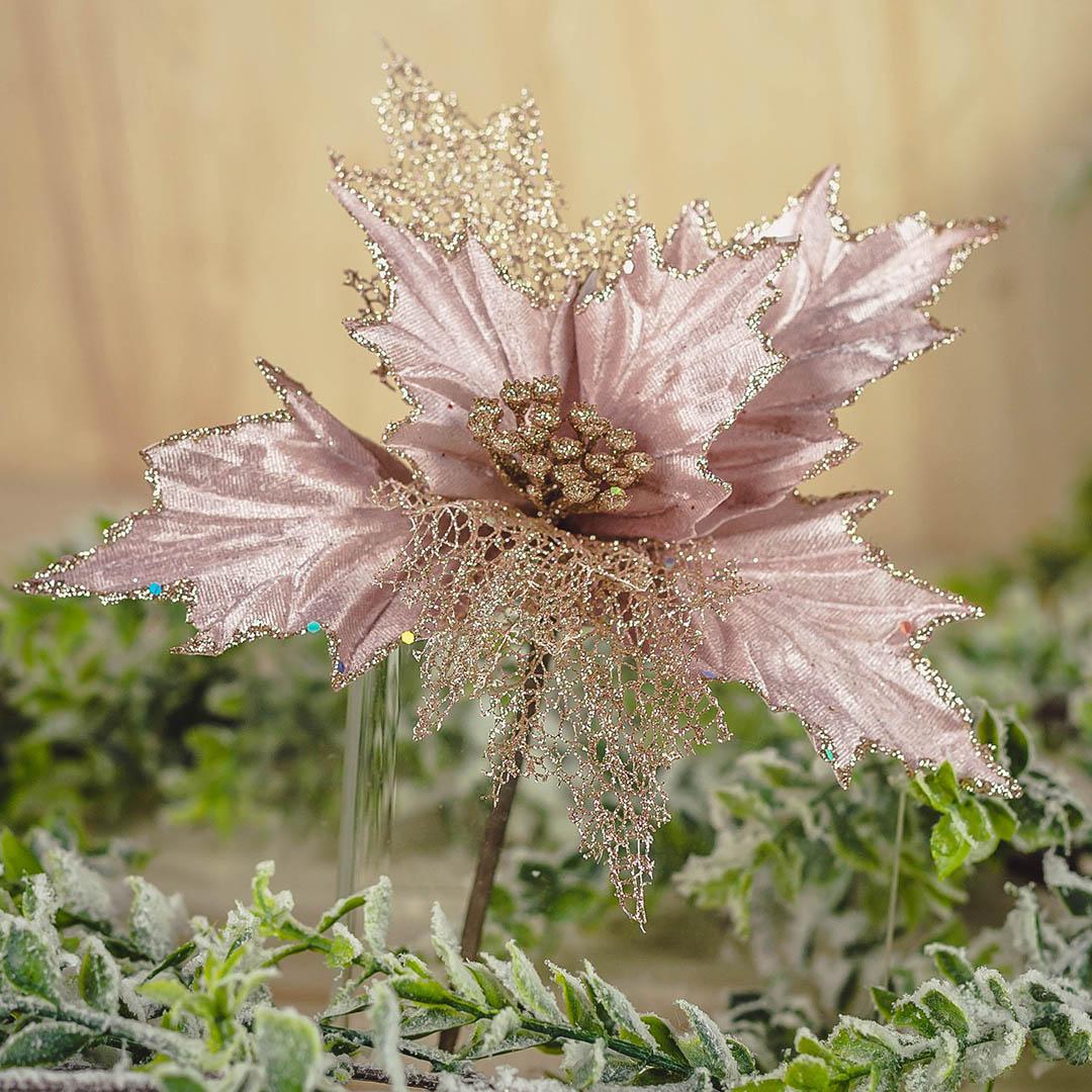 Flor Artificial de Natal Poinsetia Rosa com Glitter 27Cm | Formosinha