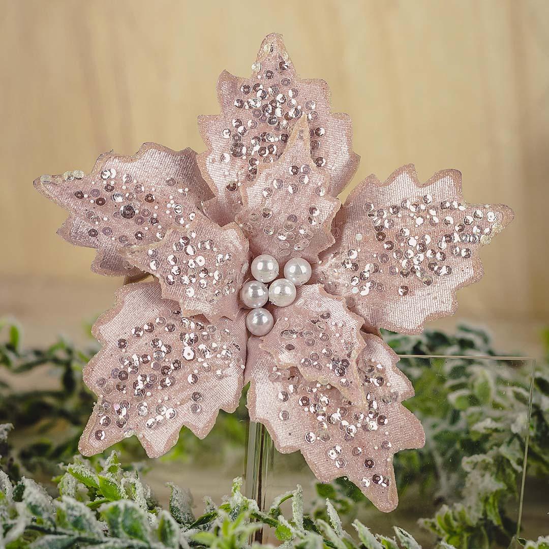 Flor Artificial de Natal Poinsetia Rosa com Perolas 27Cm   Formosinha