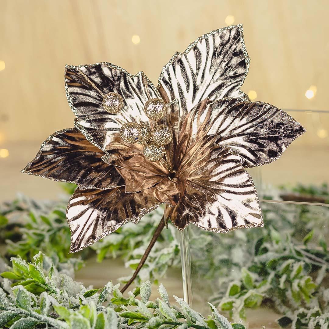 Flor Artificial de Natal Poinsetia Rose Gold 24Cm | Formosinha