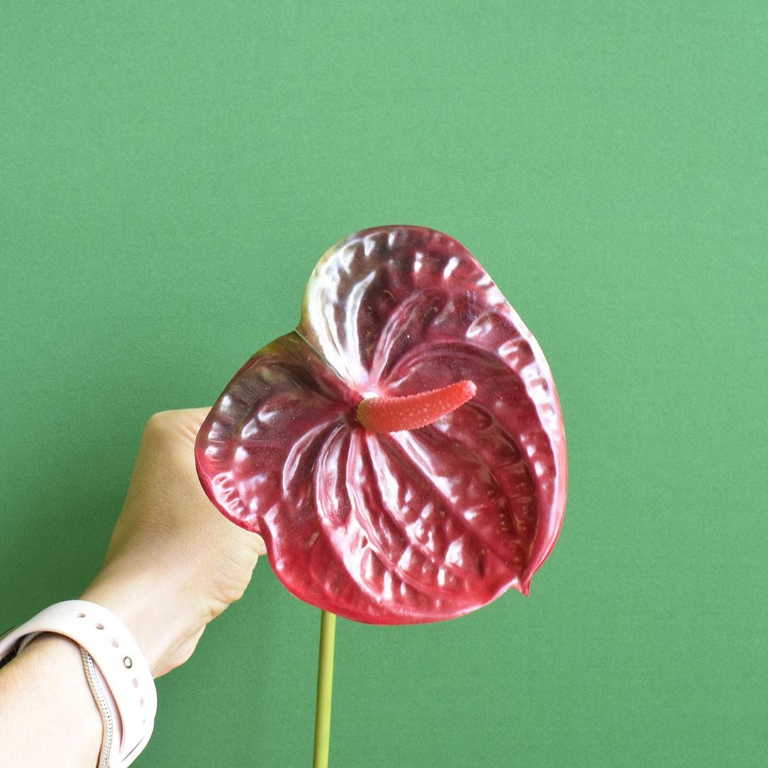 Flor Artificial Haste Antúrio 3D | Linha Permanente Formosinha