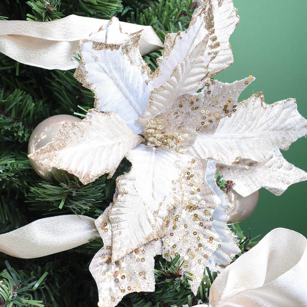 Flor Artificial Natalina Poinsetia Luxo Champagne | Linha Natal Encantado