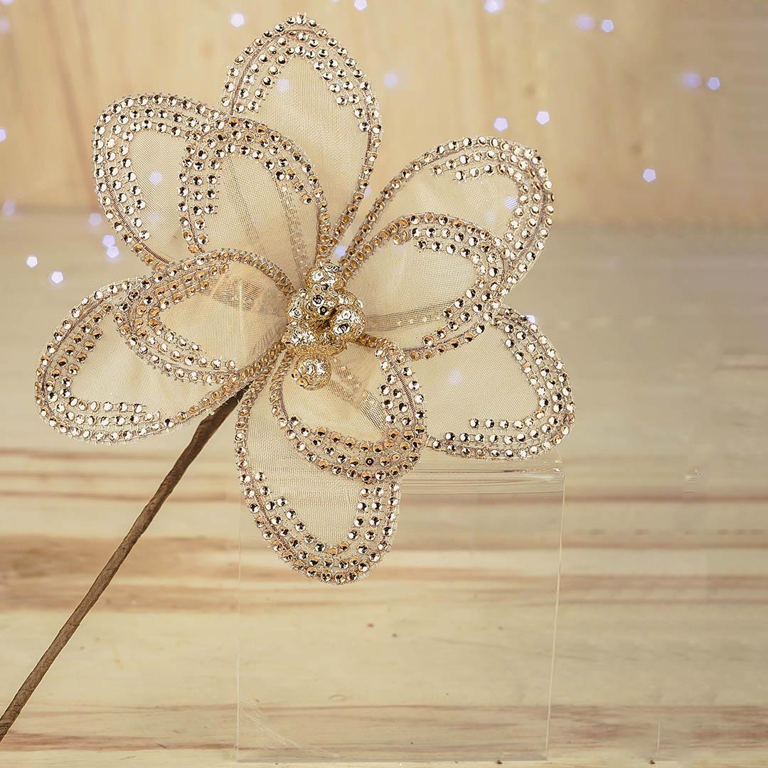 Flor Artificial Natalina Champagne de Luxo 38cm | Linha Natal Encantado