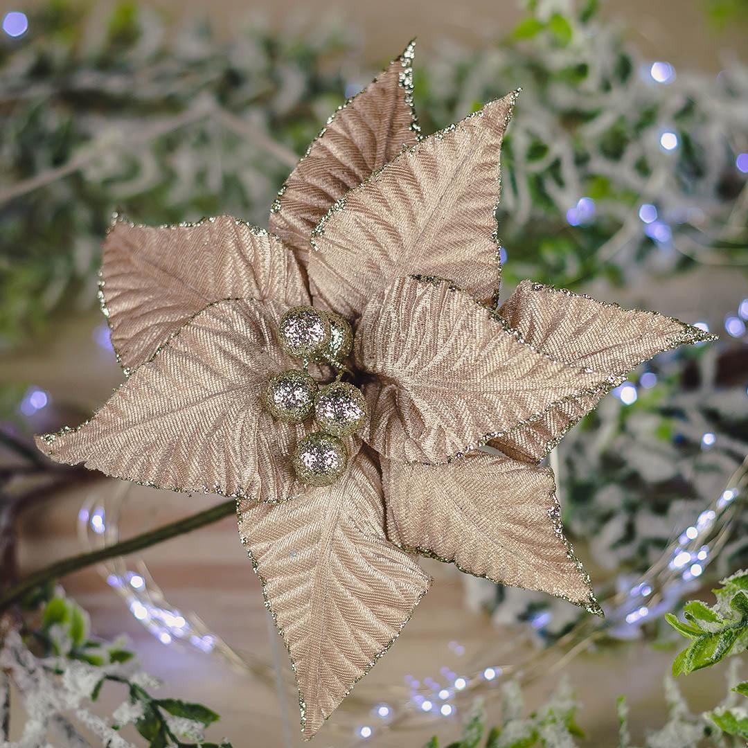 Flor Artificial Natalina Champagne de Veludo | Natal Formosinha
