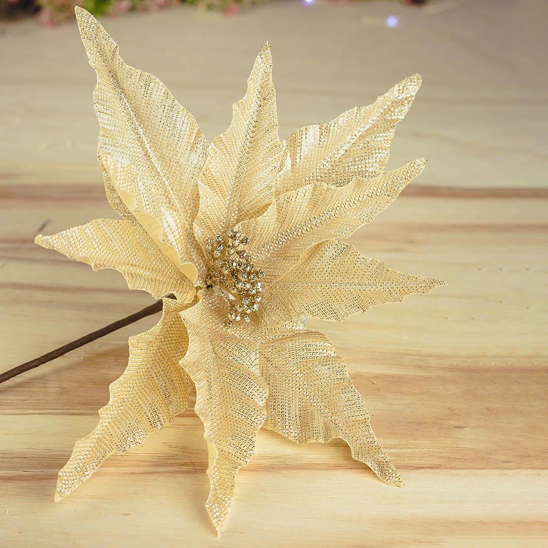 Flor Artificial Natalina Champagne e Dourado 23cm   Linha Natal Encantado