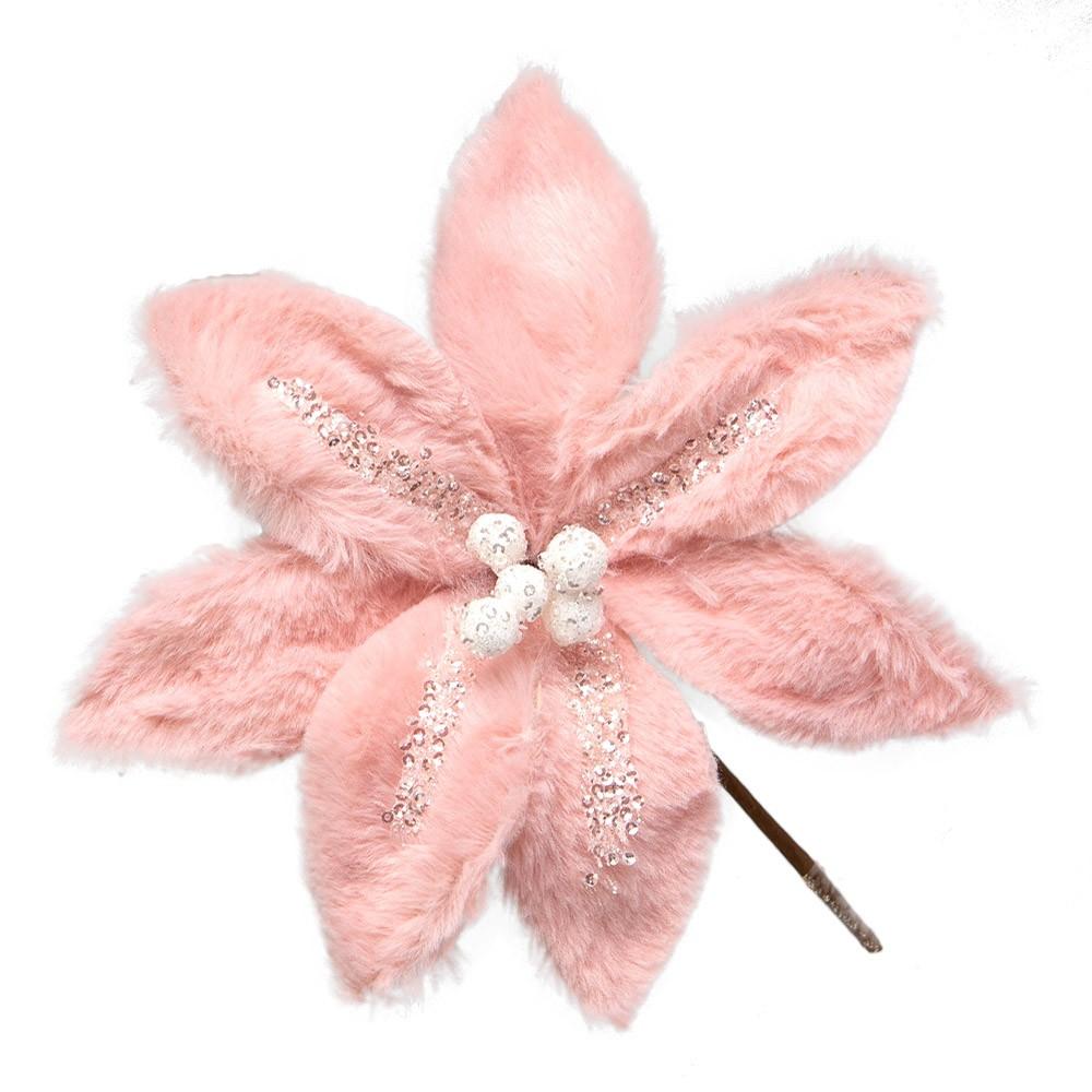 Flor Artificial Natalina Rosa com Glitter | Linha Natal Encantado