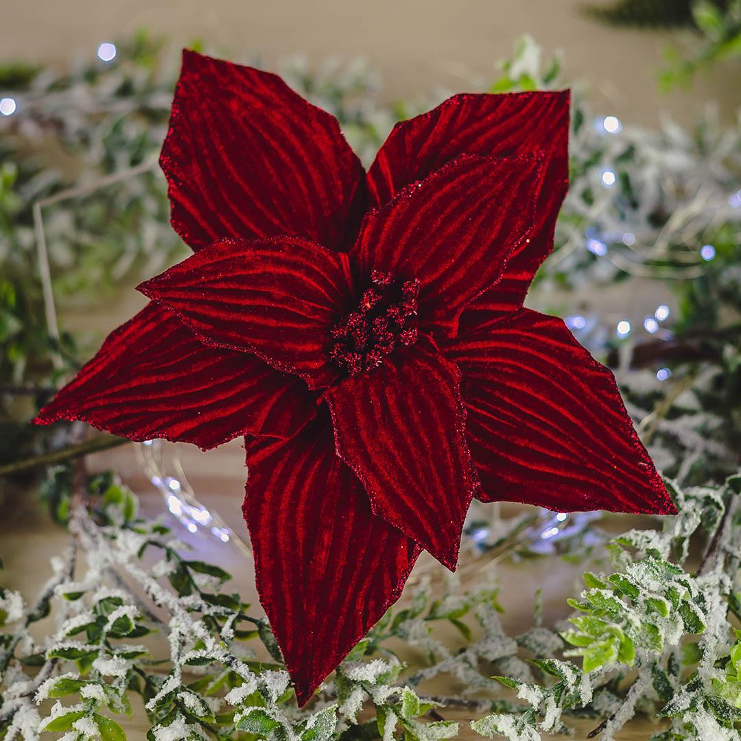 Flor Artificial Natalina de Veludo Vermelha Marsala | Natal Formosinha
