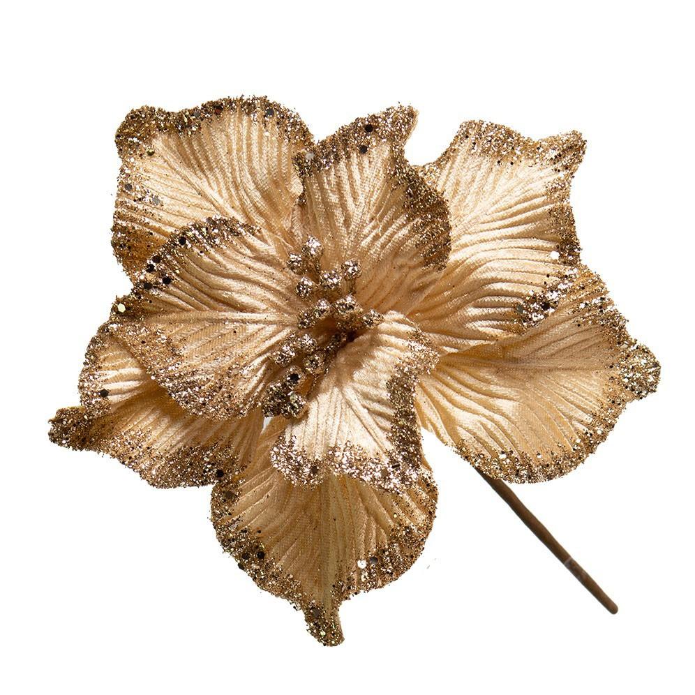 Flor Artificial Natalina Magnolia Champagne e Dourado | Linha Natal Encantado