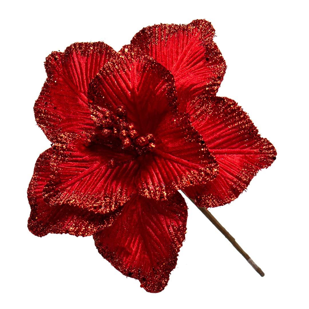 Flor Artificial Natalina Magnólia Vermelha de Veludo | Linha Natal Encantado