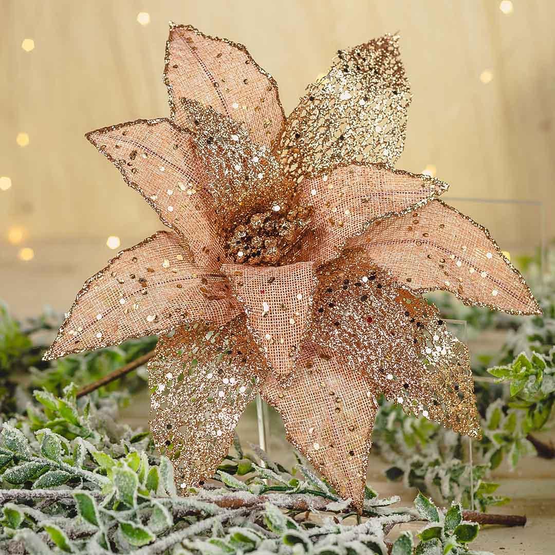 Flor Artificial Natalina Rose Gold 35cm | Natal Formosinha
