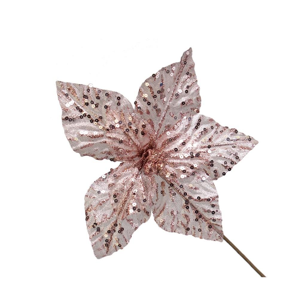 Flor Artificial Natalina Rose Gold com Lantejoula | Linha Natal Encantado