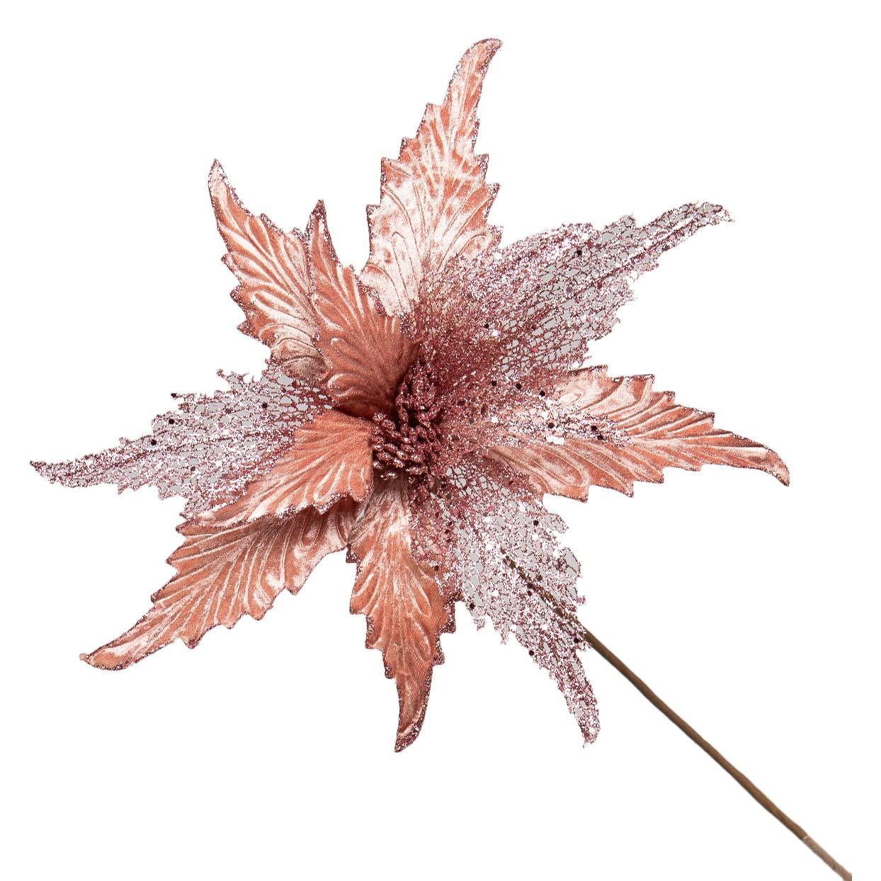 Flor Artificial Natalina Rose Gold com Tule e Veludo | Linha Natal Encantado