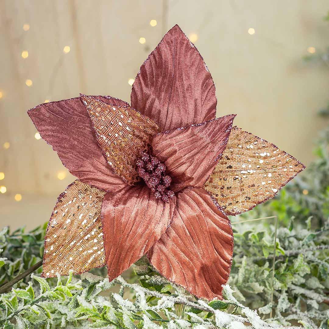 Flor Artificial Natalina Rose Gold com Tule e Veludo | Natal Encantado