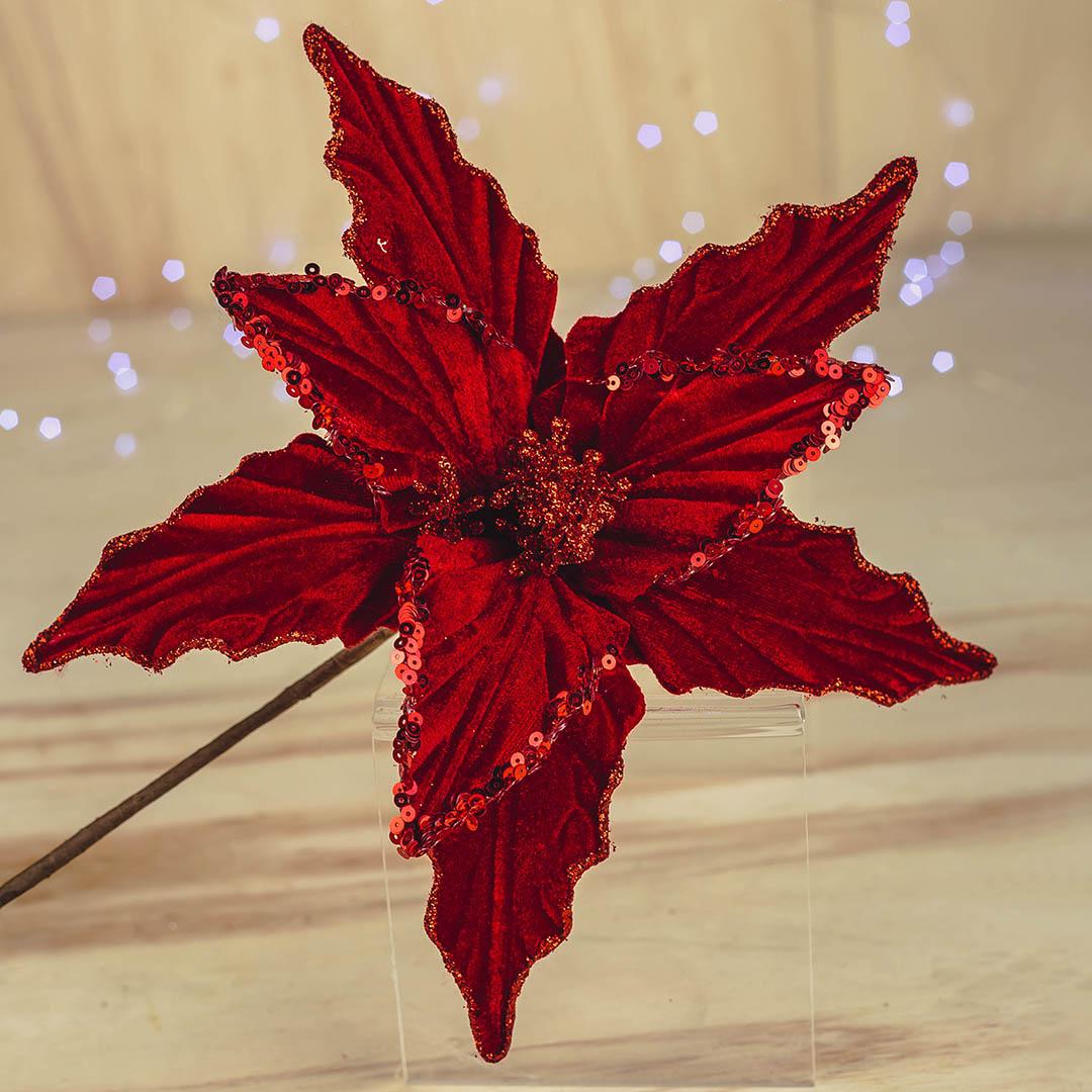 Flor Artificial Natalina Vermelha Luxo de Veludo   Natal Formosinha