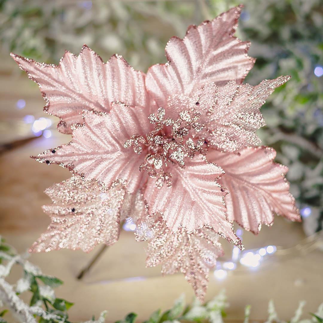Flor de Natal Artificial Pick Rosa 20Cm | Formosinha
