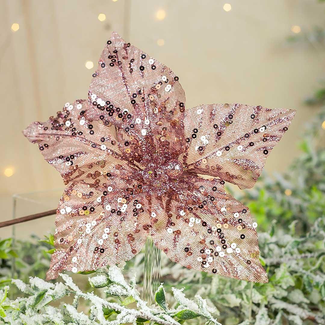 Flor de Natal Rose Gold com Lantejoula | Formosinha